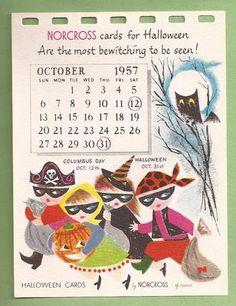 An adorable Vintage Halloween calendar card (1957). #vintage #1950s #Halloween