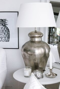 "Large table lamp ""CAPE TOWN"" Antique Silver - HOUSE of IDEAS Oriental accessories and Polish Pottery ~~love the lamp base; my opinion only--I would use a larger shade Decor, Table Lamp Base, Crystal Table Lamps, Table Lamp, Large Table Lamps, Home Decor, Room Inspiration, Beautiful Lighting, Lamps Living Room"