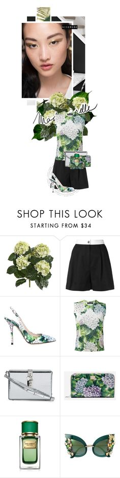 """Hydrangea"" by nicerose ❤ liked on Polyvore featuring Dolce&Gabbana, Summer, floral, Flowers and hydrangea"