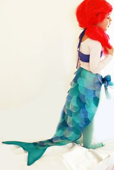 DIY Mermaid Costume for kids (but could adapt idea for adult) for dress up Or Halloween- The Sewing Rabbit