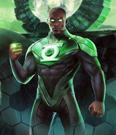 Green Lantern from Injustice 2 Mobile Green Lantern 7 Black Green Lantern, Green Lantern Corps, Green Lanterns, Arte Dc Comics, Dc Comics Superheroes, Black Characters, Comic Book Characters, Marvel Vs, Black Avengers
