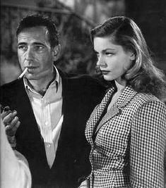"""Lauren Bacall & Humphrey Bogart """"Bogie"""" and """"The Look"""".She was gorgeous and so young, he was not so handsome as he was masculine and not young. Yet, love bloomed. Hollywood Couples, Hollywood Actor, Golden Age Of Hollywood, Vintage Hollywood, Hollywood Glamour, Hollywood Stars, Classic Hollywood, Celebrity Couples, Celebrity News"""