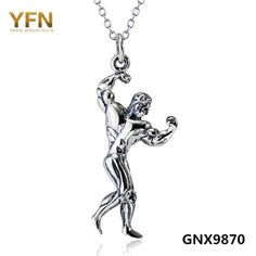GNX9870 Genuine 925 Sterling Silver Strong Man Bodybuilding Necklace Antique Silver Fitness Jewelry Necklace Holiday Sale