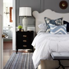 """The Vanessa headboard showcases graceful curves and elegant lines and was originally inspired by a classic valance detail. Make a bold statement in your bedroom by introducing apattern for dramatic effect and add instant """"wow"""" factor."""