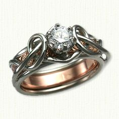 14kt Lite 'Adare' Knot Reverse Cradle set with a .60ct Round Diamond and a 14kt Rose Gold Inner Wedding Band