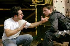 J.J. Abrams and Tom Cruise on-set of Mission Impossible 3 (2006)