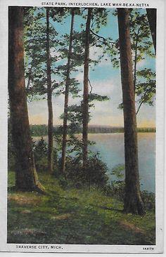 Vintage PC State Park, Interlochen, Lake Wah-Be--Ka-Netta, Traverse City, Mich Interlochen Michigan, Michigan State Parks, Dorm Posters, Traverse City, Ocean Beach, Vintage Travel, Betta, Painting Inspiration, Paintings