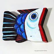Resultado de imagen para Comical Fish Hand Painted Driftwood Beach Decor Original