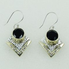 BLACK ONYX & CUBIC ZIRCONIA STONE PLEASING DESIGN 925 STERLING SILVER EARRINGS #SilvexImagesIndiaPvtLtd #DropDangle