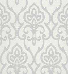 Papel pintado damasco arabe moderno con destellos grises - 40744