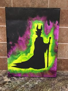 """Maleficent Crayon Art (9""""x12"""" canvas) by KreationsbyKater on Etsy"""
