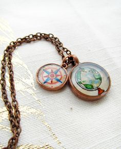 Wanderlust -- Globe and Compass Copper Charm Necklace, Traveler Jewelry. $32.00, via Etsy.