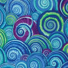 Free Spirit Fabrics Kaffe Fassett 2015 Collective Philip Jacobs Blue Spiral Shells   Quilting