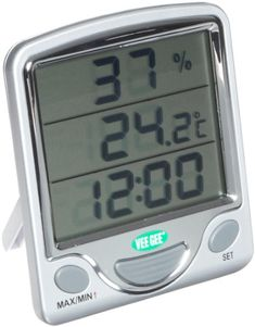 VeeGee Maximum and Minimum Digital DualScale Thermometer with Hygrometer and Clock 0 to 50 Degree C and 32 to 122 Degree F >>> Read more at the image link.-It is an affiliate link to Amazon. #WeatherInstruments