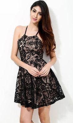 Swan Lake Black Beige Lace Spaghetti Strap Crisscross Tie Back Halter Skater Circle A Line Flare Mini Dress