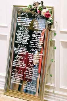 Elegant seating chart, mirror seating chart, calligraphy, escort cards, alternative seating chart :Photography: Kristina Adams -