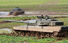 Two spanish Leopard A6 tanks during practices