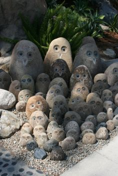 Rock garden owls - I would have one, maybe two - not the whole gang cute as they are...