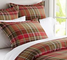 "Tahoe Plaid Duvet Cover; add grey sheets with sweater pillow and ""Canadiana"" pillow accents"
