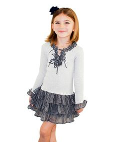 This White & Navy Tiered Ruffle Dress - Girls by Sophie Catalou is perfect! #zulilyfinds