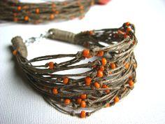 Ceramic CleMenTines   linen bracelet by GreyHeartOfStone on Etsy, $13.00