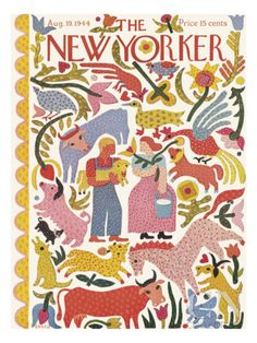 great cover illustrating rural living - The New Yorker - Saturday, August 1944 - Issue # 1018 - Vol. 20 - N° 27 - Cover by : Ilonka Karasz The New Yorker, New Yorker Covers, Capas New Yorker, Cover Art, Magazine Art, Magazine Covers, Illustrations And Posters, Applique Quilts, Book Design