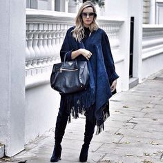 Camilla Carril in Kirei clothing poncho.  www.kireiclothing.com #AW15 #streetstyle Blue Jean Outfits, Camilla, Rebecca Minkoff, Blue Jeans, Street Style, Clothes, Fashion, Outfits, Moda