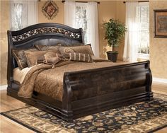 in by Ashley Furniture in Garland, TX - Suzannah Series Complete Queen Sleigh Bed. Sleigh Bedroom Set, King Bedroom Sets, Bedroom Furniture Sets, Bedroom Decor, Bedroom Ideas, Master Bedrooms, Bed Furniture, Rustic Furniture, Master Bathroom