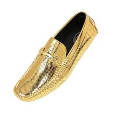 072381cb7416 Men s Perforated Patent Driving Moccasin Loafer Shoe  Style Rila - Gold -  CQ1873KZX0S