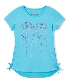 Take a look at this Dreamstar River Blue Rhinestone Heart Hi-Low Top - Girls today!