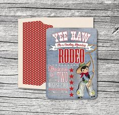 Western Cowboy Invitation and Thank You Cards by theblueeggevents