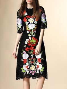 Black Floral Half sleeve Sheath Embroidery Lace Midi Dress