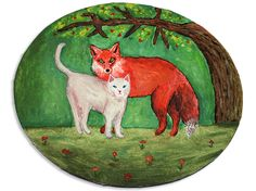 Original Painting, Whimsical Art, Cat and Fox, Woodland Painting, Cat Painting, Fox Painting, Acrylic Cat Art, Fox Art, Fantasy Painting - pinned by pin4etsy.com