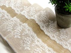 Burlap and lace table runner wedding table by HotCocoaDesign