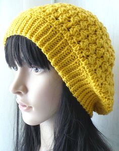 Spring Hat/Yellow Hat/Yellow Crochet Hat/Crochet Slouchy Hat/Womens Hat/Gift For Her/Gift For Girl/Hat For Girl/Yellow Spring Beret/Spring/ by GoldenAniel on Etsy