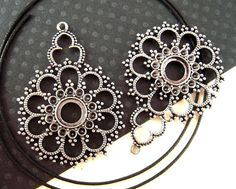 2 Organic Filigree Silver Pendants 53mm Natural by EthnicBeadShop