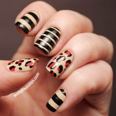 Zoya Nail Polish in Cho, Raven and Kristi used for this leopard/stripe nail art (work / play / polish)
