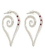 Amery Carriere Ruby and Sterling Silver Heart-Scroll Hoop Earrings
