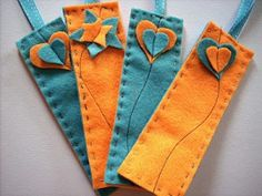 simple sewing, felt bookmarks