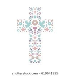 Catholic Christian Cross with natural elements inside, doves, chalice, grapes and flowers. First Communion cross First Holy Communion Cake, Diy Screen Printing, Funeral Planning, Religious Pictures, Fancy Fonts, Catholic Art, Kids Church, Cardmaking, Machine Embroidery