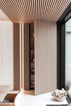 Home Room Design, Living Room Designs, Wood Slat Wall, Wood Slat Ceiling, Wooden Wall Panels, Wooden Walls, Wood Interior Design, Wooden Ceiling Design, Wood Interior Walls