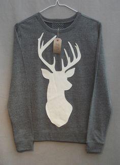 Leather Stag Deer Jumper Women's Grey Heather Lightweight Crew Neck Sweatshirt. £35.00, via Etsy.