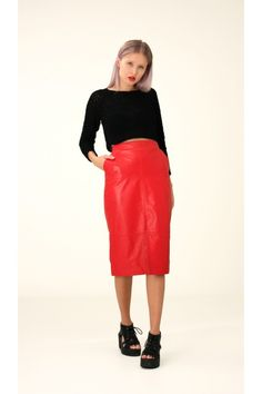 Red Leather Skirt, S / Annaliina Red Leather Skirt, Skirts, Collection, Women, Fashion, Moda, Fashion Styles, Skirt