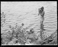 """""""Boy and Dogs in Water"""" by Leslie Jones, 1951 via Boston Public Library"""