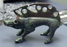 Celtic bronze statue of a boar (3rd century BC ) from Luncani, district Cluj, Romania