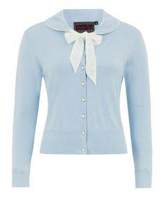 Light Blue Bow Button-Down Cardigan #zulily #zulilyfinds