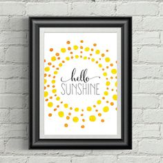 Hello Sunshine Watercolor Print Summer by BethKateDesigns on Etsy