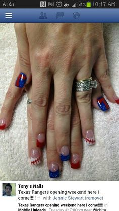 My Texas Rangers nails...All done with powder
