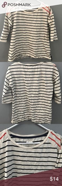 Striped cream top Women's large striped cream top- black and orange stripes   - hoes wonderfully paired with Capri pants Maison Jules Tops Blouses