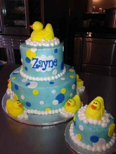 Rubber Duck 1st Birthday Cake with little cake!!!